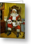 Doll Painting Greeting Cards - Antique Santa Greeting Card by Doug Strickland