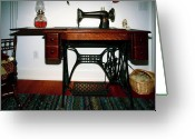 Oil Lamp Greeting Cards - Antique Sewing Machine Greeting Card by Sally Weigand