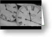 Clock Greeting Cards - Antique Time Greeting Card by Heidi Hermes