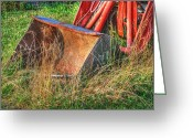 Farms Greeting Cards - Antique Tractor Bucket Greeting Card by Jennifer Lyon