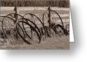 Sepia Toned Greeting Cards - Antique Wagon Wheels I Greeting Card by Tom Mc Nemar