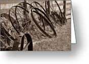 Sepia Toned Greeting Cards - Antique Wagon Wheels II Greeting Card by Tom Mc Nemar