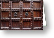 Florence Greeting Cards - Antique Wood Door In Florence Greeting Card by Giuseppe Ceschi