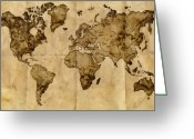Vintage Map Digital Art Greeting Cards - Antique World Map Greeting Card by Radu Aldea