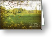 Scenic Digital Art Greeting Cards - Antiqued grunge landscape Greeting Card by Sandra Cunningham