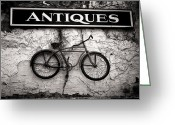 Silver Gelatin Greeting Cards - Antiques and The Old Bike Greeting Card by Bob Orsillo