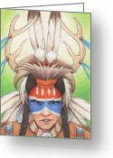 Karma Greeting Cards - Antlered Warrior Greeting Card by Amy S Turner