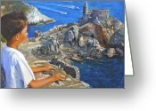 Looking Away Pastels Greeting Cards - Antoine in Corsica Greeting Card by Leonor Thornton