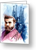 Spaniards Greeting Cards - Antonio Gaudi Greeting Card by Ken Meyer jr