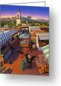 Movies Greeting Cards - Ants at the Hollywood Farmers Market Greeting Card by Robin Moline