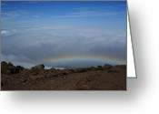 Volcanic Greeting Cards - Anuenue - Rainbow at the Ahinahina Ahu Haleakala Sunrise Maui Hawaii Greeting Card by Sharon Mau