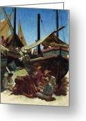 Anglers Greeting Cards - Anzio The Port Greeting Card by Antoine Auguste Ernest Hebert