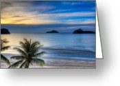 Thailand Digital Art Greeting Cards - Ao Manao Bay Greeting Card by Adrian Evans