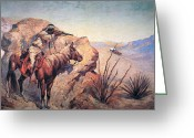 Cowboy Gun Greeting Cards - Apache Ambush Greeting Card by Frederic Remington