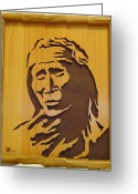 Scroll Saw Sculpture Greeting Cards - Apache Brave Greeting Card by Russell Ellingsworth