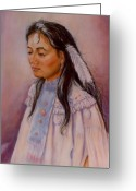 Maiden Pastels Greeting Cards - Apache Maiden Greeting Card by Ann Peck