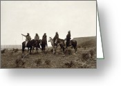 Pointing Greeting Cards - APACHE MEN, c1903 Greeting Card by Granger