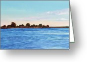 Canals Painting Greeting Cards - Apalachicola Bay Autumn Morning Greeting Card by Paul Gaj