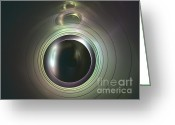 Dark Gray Dark Grey Greeting Cards - Aperture Greeting Card by Kim Sy Ok