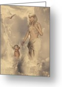 Greece Digital Art Greeting Cards - Aphrodite and Eros Greeting Card by Lourry Legarde