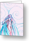 Maiden Drawings Greeting Cards - Aphrodite Greeting Card by Rebecca Tripp