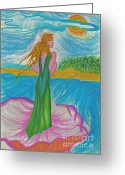 Seashell Art Drawings Greeting Cards - Aphrodite Venus Greeting Card by First Star Art