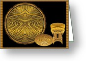 Chalice Greeting Cards - Apo Golden Artifacts Greeting Card by Peggi Wolfe