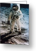 Men Greeting Cards - Apollo 11: Buzz Aldrin Greeting Card by Granger