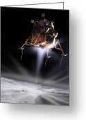 Program Greeting Cards - Apollo 11 Moon Landing Greeting Card by Detlev Van Ravenswaay and Photo Researchers
