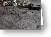 Lunar Photo Greeting Cards - Apollo 15 Land Rover & Module Greeting Card by Nasa