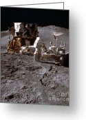 Lunar Photo Greeting Cards - Apollo 15 Lunar Roving Vehicle Greeting Card by Nasa