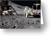 Moon Surface Greeting Cards - Apollo 15 Rover, 1971 Greeting Card by NASA/Science Source