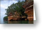 Caves Greeting Cards - Apostle Islands National Lakeshore Greeting Card by Larry Ricker