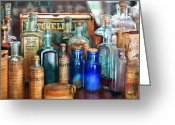 Sick Greeting Cards - Apothecary - Remedies for the Fits Greeting Card by Mike Savad