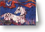 Moonlight Tapestries - Textiles Greeting Cards - Appaloosa in Flower Field Greeting Card by Carol Law Conklin