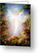 Religious Artwork Painting Greeting Cards - Apparition II Greeting Card by Marina Petro