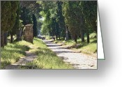 Biking Greeting Cards - Appian Way in Rome Greeting Card by David Smith