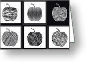 Black And White Digital Art Greeting Cards - Apple-02 Greeting Card by Eakaluk Pataratrivijit