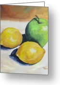 Lemons Greeting Cards - Apple and Lemons Greeting Card by Torrie Smiley