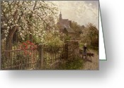 Shepherdess Painting Greeting Cards - Apple Blossom Greeting Card by Alfred Muhlig