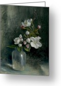 Cent Greeting Cards - Apple Blossoms Greeting Card by Lyndall Bass
