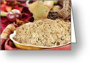Oatmeal Greeting Cards - Apple Crisp Greeting Card by Stephanie Frey