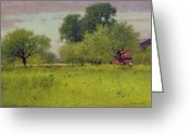 Inness Greeting Cards - Apple Orchard Greeting Card by George Snr Inness