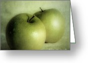 Dark Greeting Cards - Apple Painting Greeting Card by Priska Wettstein