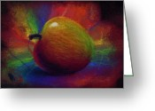 Colorful Drawings Greeting Cards - Apple Pastel Greeting Card by Kd Neeley