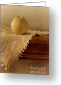 Wood Photo Greeting Cards - Apple Pear On A Table Greeting Card by Priska Wettstein