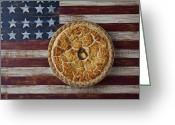 Delicacy Greeting Cards - Apple pie on folk art  American flag Greeting Card by Garry Gay