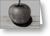 Baby Room Drawings Greeting Cards - Apple Greeting Card by Shannon Redmon