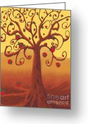 Grow On Trees Greeting Cards - Apple Tree Greeting Card by Dessie Durham