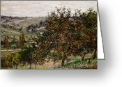 Signature Greeting Cards - Apple Trees near Vetheuil Greeting Card by Claude Monet